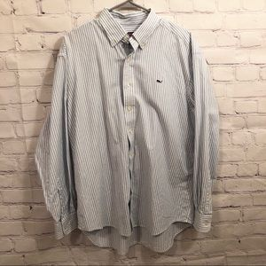 Vineyard Vines blue and white striped button down